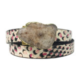 Pink polkadot printed leather wrap with agate