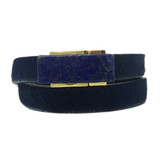 Navy cowhide wrap bracelet with lapis