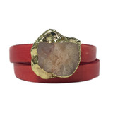 Bright pink leather wrap bracelet with gold edge agate