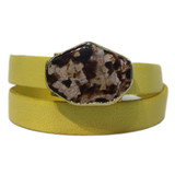 Bright yellow leather wrap bracelet with gold edge jasper