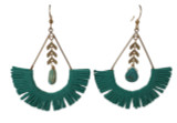 Turquoise suede fringe with natural turquoise stones statement earring