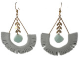 White leather fringe with pale blue stones statement earring