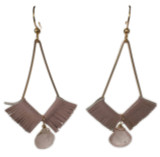 Kendall geometric earrings with pink patent leather and rose quartz