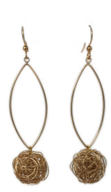 Open gold marquis drop earrings