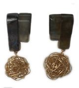 Labradorite Art Deco gold knot drop stud earrings