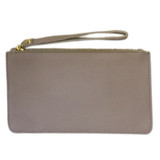 Light lilac lambskin leather wristlet clutch