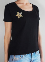 Black tee with gold python star detail