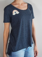 Dark denim scoop neck with rainbow appliqué