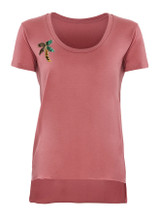 Dusty rose scoop neck with palm tree python appliqué