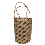 Black and natural round straw summer bucket tote