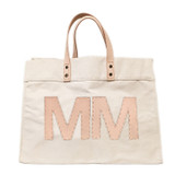 Natural canvas tote with matching leather monogram