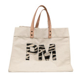 Natural canvas tote with zebra cowhide monogram