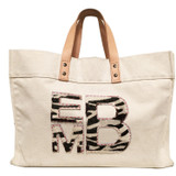 Natural canvas tote with zebra cowhide block monogram