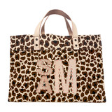 Block monogram large leopard canvas market tote