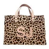 Double leather monogram leopard canvas tote