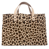 Large leopard canvas market tote