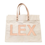 Natural canvas tote with matching leather letters