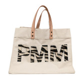 Natural Large Canvas Market Tote - Triple Monogram