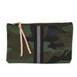 Camo Canvas Large Zip Pouch - Glitter Stripes