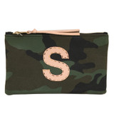 Large Camo Canvas Zip Pouch - Single Monogram