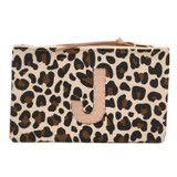 Leopard Canvas Large Zip Pouch - Single Monogram