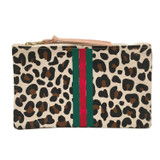 Leopard Canvas Large Zip Pouch - Stripes
