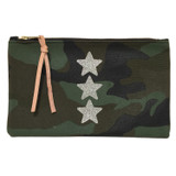 Camo Canvas Large Zip Pouch - Glitter Stars