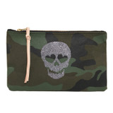 Camo Canvas Large Zip Pouch - Glitter Skull