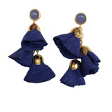 blue suede floral drop earrings with chalcedony