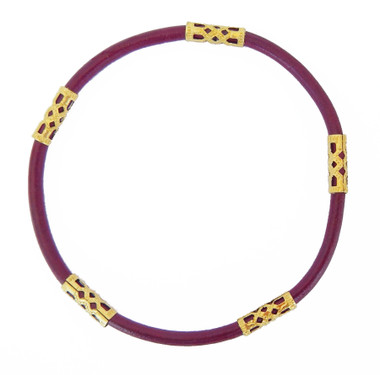 Deep Magenta Leather Cord with 5 Bead Detail