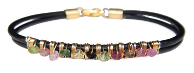 Black Leather Bracelet with Multi-color Tourmaline