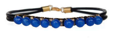 Smooth Black Leather & Bright Blue Onyx