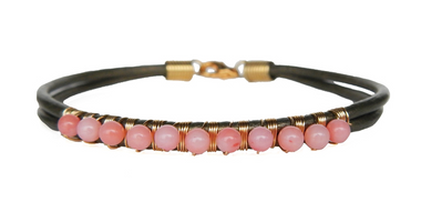 Metallic Olive Leather & Pink Coral