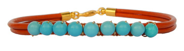 Orange Leather & Turquoise