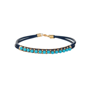 Navy Leather & Turquoise