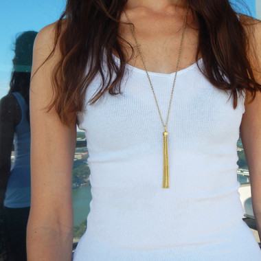 Long Gold Tassel Pendant
