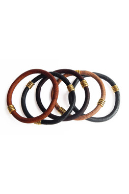 Chunky Leather Bracelets in Dark Natural Colors