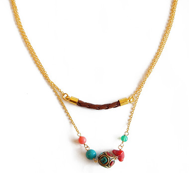 Brown Leather & Mixed Stones Layered Necklace