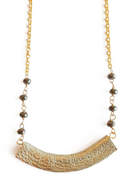 Pyrite & Gold Leather Bar Delicate Necklace