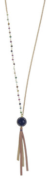 Multi-color tourmaline, pave diamonds, & black onyx pendant on a long chain with leather
