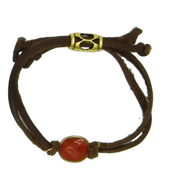 Brown leather and natural carnelian drawstring bracelet
