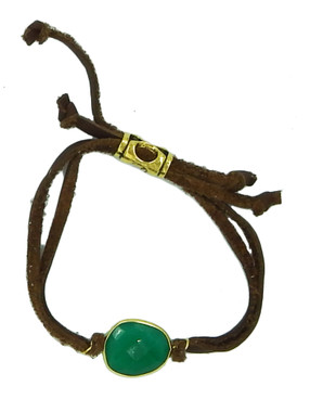 Brown leather and natural green onyx drawstring bracelet