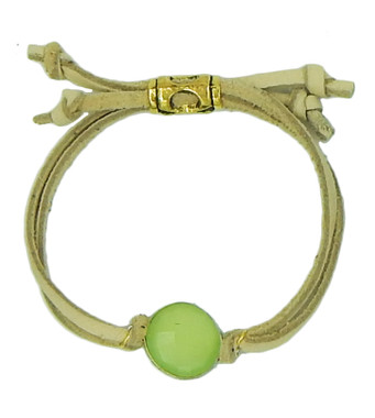 Natural leather and citrus chalcedony drawstring bracelet