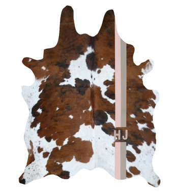 Tri-color cowhide rug with custom monogram