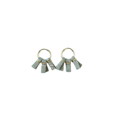 Brushed silver leather small hoop earrings