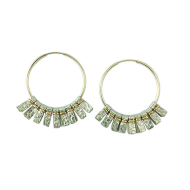 Gold leather medium size hoop earrings