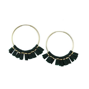 Green leather medium size hoop earrings