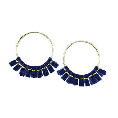 Royal blue leather medium size hoop earrings
