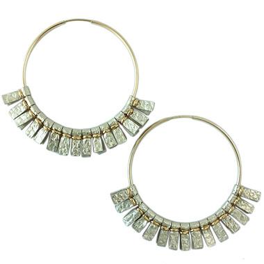 Large metallic gold leather hoop earrings