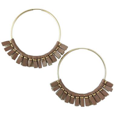 Large rose gold leather hoop earrings